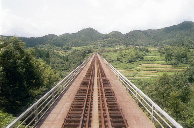 高千穂鉄道のレールバスから見た高千穂鉄橋