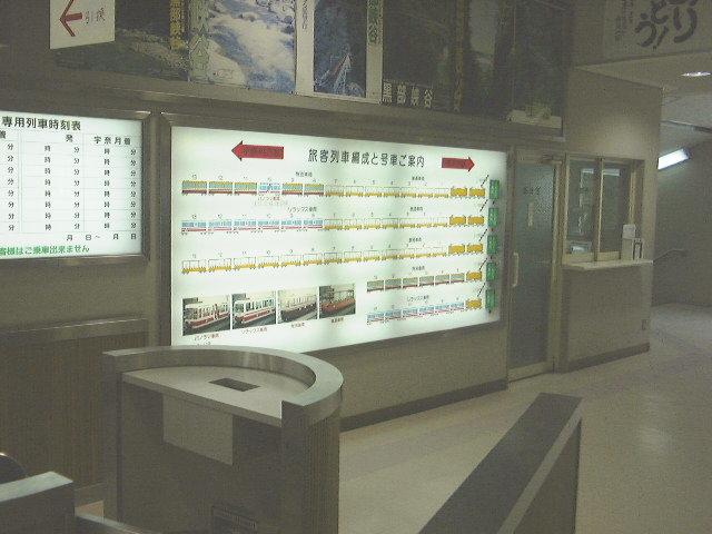 黒部峡谷鉄道の列車編成案内